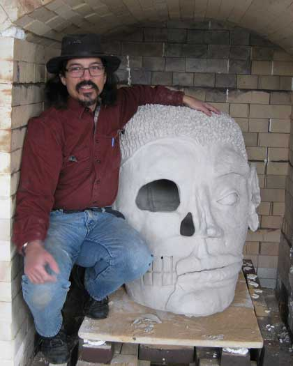Robert and his big head in the kiln